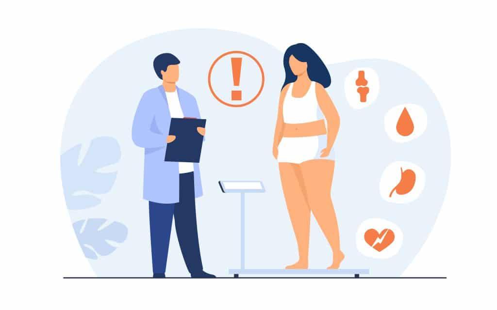 Paziente in sovrappeso in visita da dietologo per assunzione di palloncino intragastrico Elipse